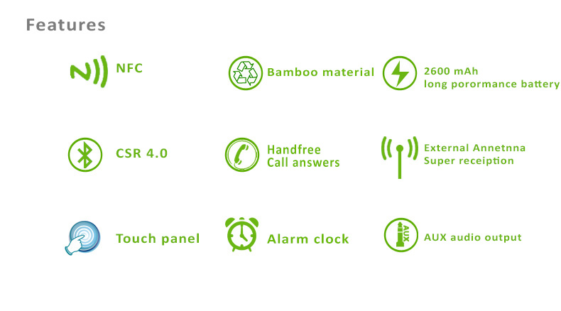 Bamboo LED clock with bass enhanced speaker, NFC+CRS 4.0 Bluetooth, Touch Panel, FM, Alarm Clock Features