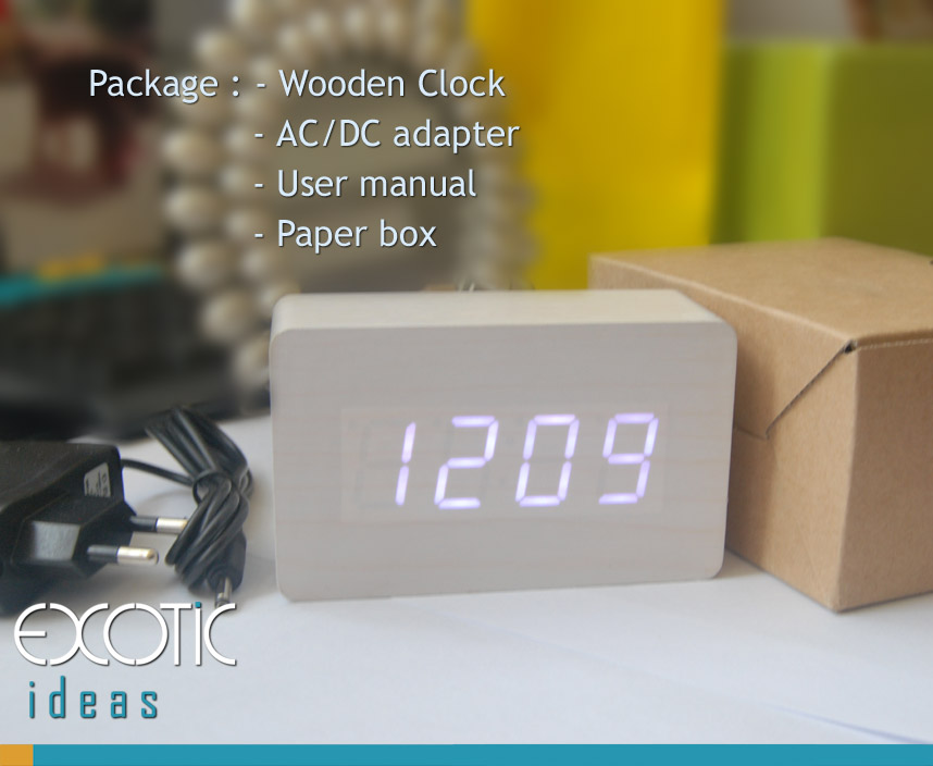 Mini Rectangular White Oak Wood Wooden Alarm Clock White LED Display,  Time, Temperature, Sound Control