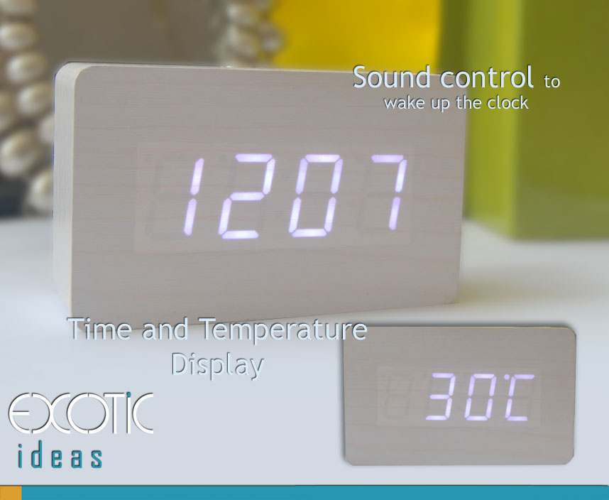 Mini Rectangular White Oak Wood Wooden Alarm Clock White LED Display,  Time, Temperature, Sound Control