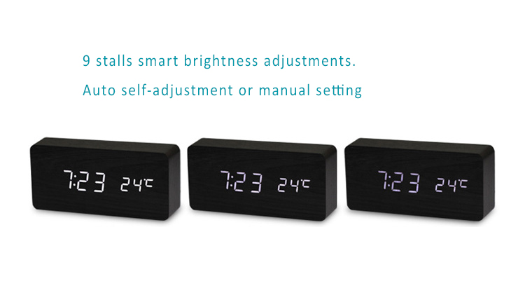 Wood Wooden Clock with LED Display, 3 Sets of Alarms, Time, Date, Temperature, Sound Control - Rechargeable battery built-in. 9 stall brightness adjustments.