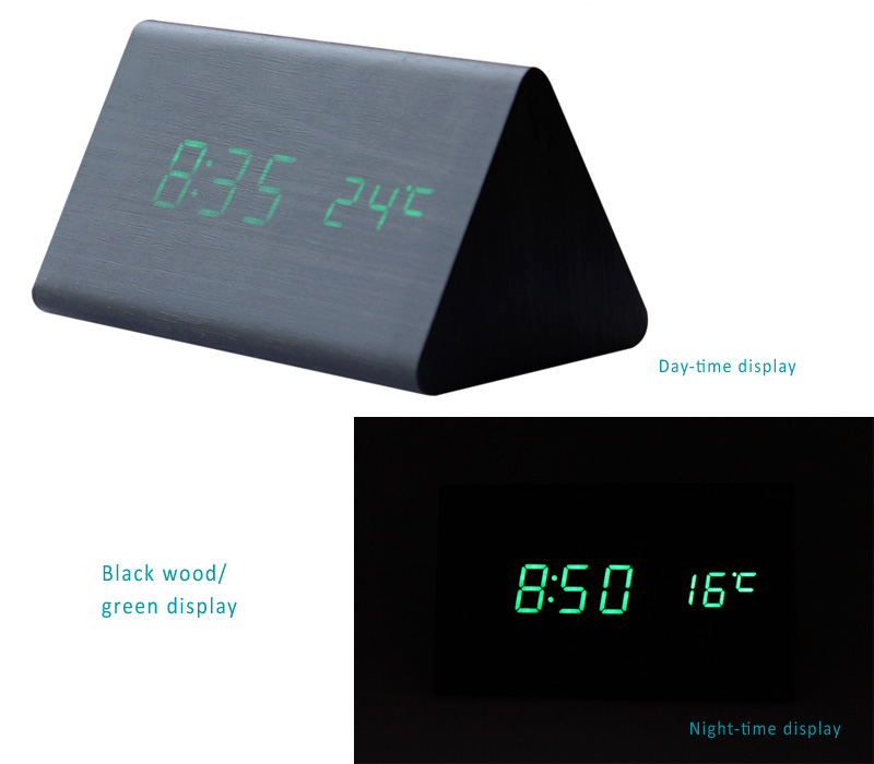 Wooden Skin Alarm Clock with LED Time, Date, Tempature Display, Sound Control to activate the display.