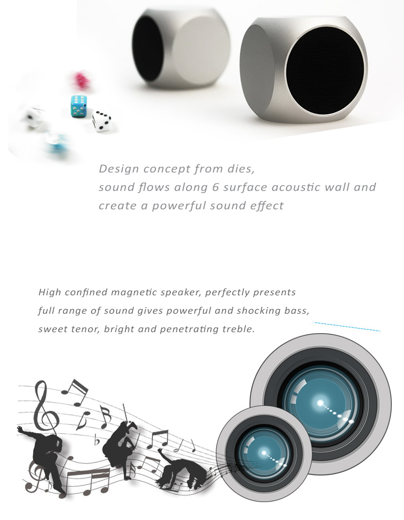Xoopar Xquare Stereo Speaker with Subwoofer Effect, Mini Size Design - Works as external stereo speaker for smart phones, iPads, notebooks, PCs