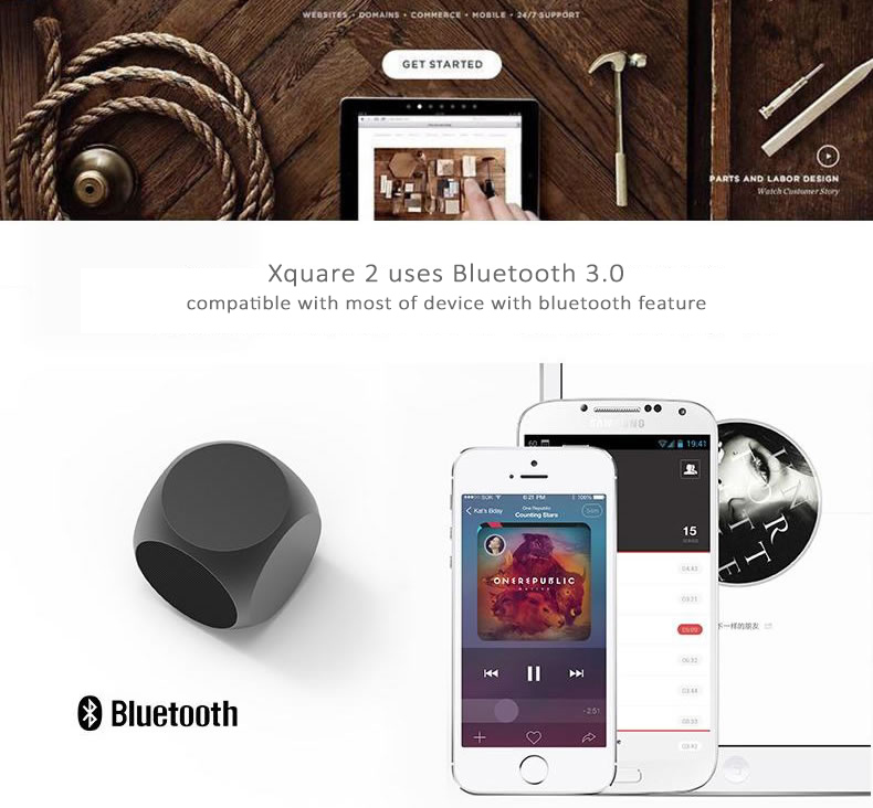 Xoopar Xquare2 Bluetooth Stereo Speaker with Subwoofer Effect, Mini Size Design - Works as external stereo speaker for smart phones, iPads, notebooks, PCs