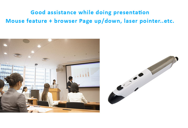 Android iOS Win 2.4GHz Optical Air Mouse Pen Stylus Laser Pointer Web Browsing