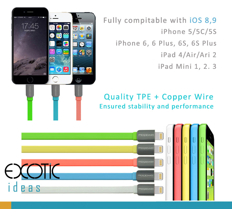 8 Pins Lightning USB Cable iPhone6/6S/7/8 Plus iPhone5/5C/5S. TPE+ ...
